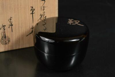 A3770: Japanese Wooden Lacquer ware TEA CADDY Natsume Container w/signed box