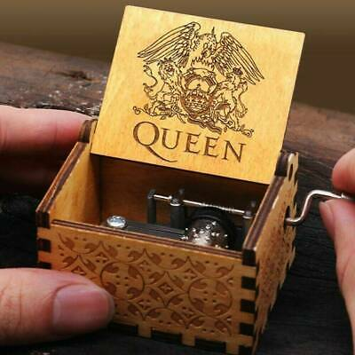 Hand Crank Wooden Engraved Queen Music Box Kids Birthday Xmas Gift 64*52mm