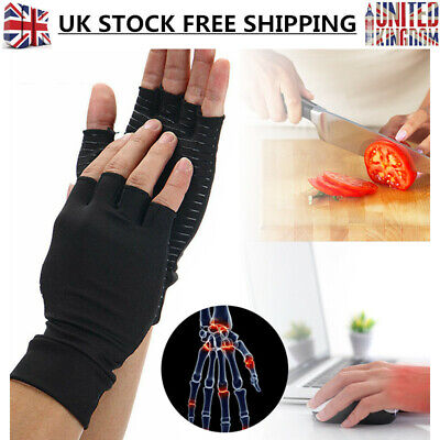 Copper Fiber Fingerless Gloves Anti Arthritis Finger Support Pain Relief Therapy