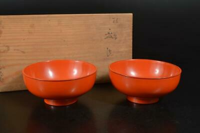 A3702: Japanese Wooden Lacquer ware Nagoro Paint HAISEN bowl 2pcs, w/signed box
