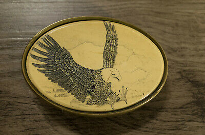 Authentic Barlow Eagle in Flight Carved Belt Buckle Solid Brass