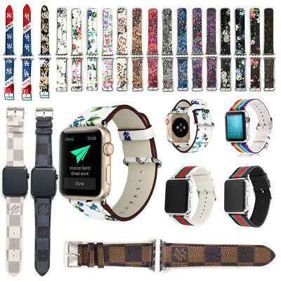 For Apple Watch Series 5/4/3/2 Floral Leather Band Strap & Adapter 38/40/42/44mm