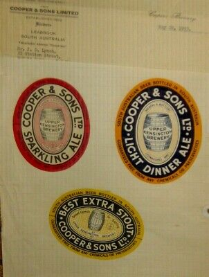 3 Old Australian Beer Labels Nice Lot 1950s Cooper and son