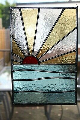 Stained glass garden panel sunrise