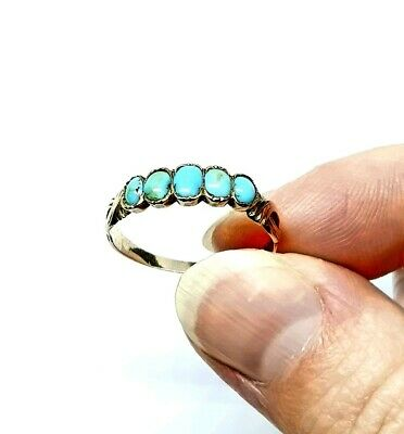 9ct Gold Victorian Turquoise Forget Me Not Ring Size L 1/2 Love Token