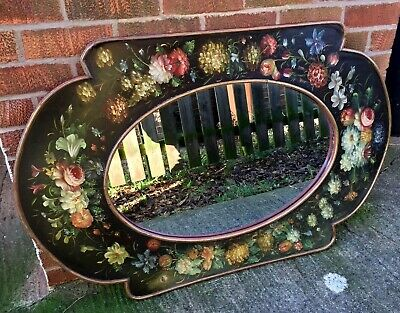 Stunning Large Antique Vintage Wooden  Wall Mirror Hand Painted Flowers Decor