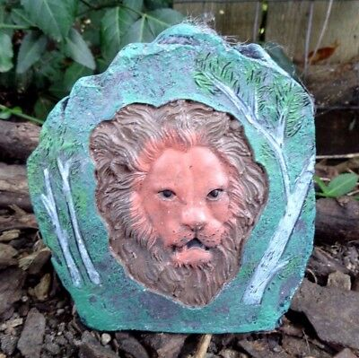 """Latex lion rock mold plaster cement casting mould  4.5""""W x 5""""H x 1.5"""" thick"""