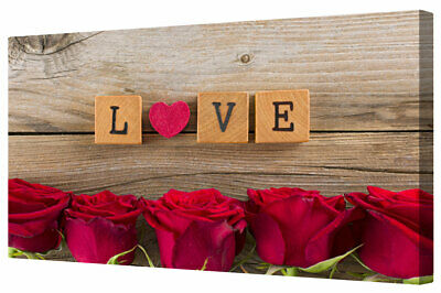 Red Roses Love Heart Canvas Picture Print Premium Romantic Framed Wall Art