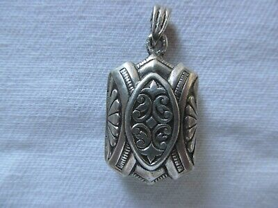 Antique Sterling Silver Miniature Two Picture Locket Pendant
