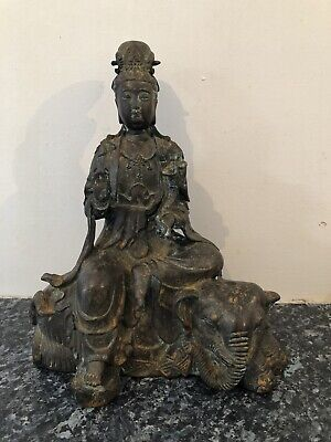 Chinese Guan Yin Figure Seated On Recimbe Elephant Bronze Impressed Seal Mark