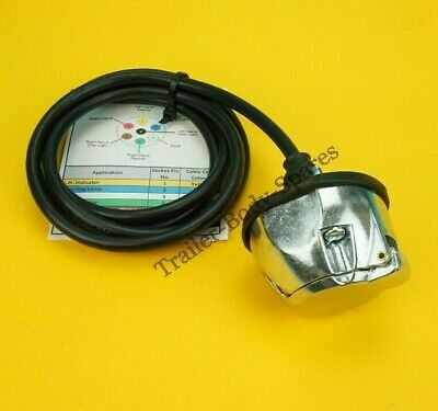 Pre-wired 7 Pin Metal Trailer Towing Socket 12N with colour code cable guide