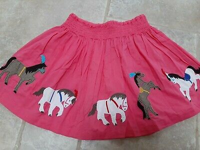 Mini Boden lined Skirt Girls horses circus Age 7-8 Years