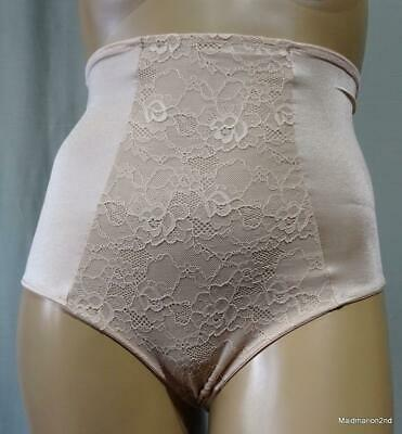 MAGISCULPT VINTAGE STYLE SKINTONE LACE FRONT PANTY GIRDLE KNICKERS Lg UK 16