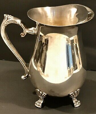 LEONARD SILVERPLATE, FOOTED WATER PITCHER w/ICE GUARD Silver Plate EXCELLENT
