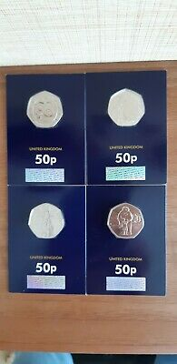 Set of 4 50p Coins Peter Rabbit,The Snowman,Gruffalo & Mouse,wallace & gromit BU