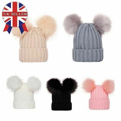 Womens Ladies Winter Knitted Beanie Hat Double Fur Pom Pom Bobble Pom Ski Cap UK