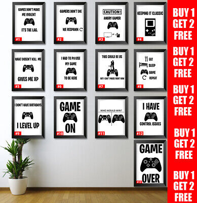 Gaming Poster Games Room Wall Art Gamer Gift