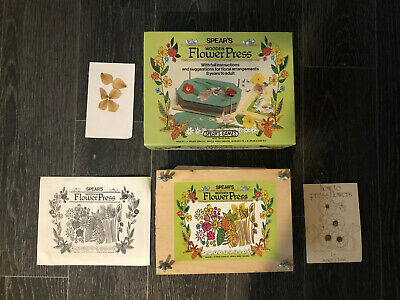 Spears Games Wooden Flower Press With Instructions Boxed Vintage Arts Crafts