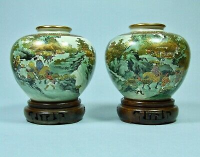 Japanese Satsuma Pair Antique Meiji Period Vases Signed Nikko - Stunning Quality