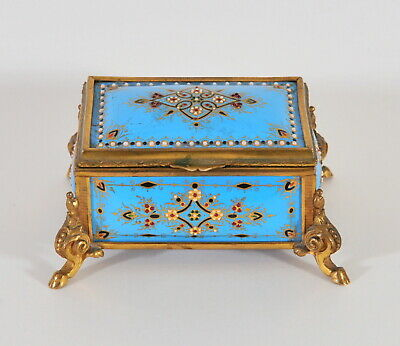 Antique enamel jewel box, 19th century