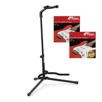 Tiger Universal Guitar Stand & 2 Packs of Electric Guitar Strings