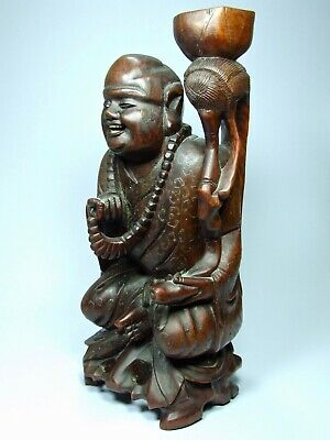 Large Vintage Chinese Carved Wooden Laughing Buddha Hotie Lamp Base Treen