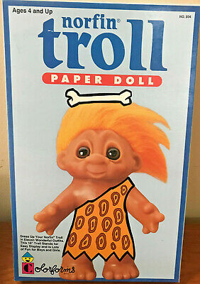 "NIB Vintage 10/"" Norfin TROLL PAPER DOLL Dress Up By Colorforms NEW"
