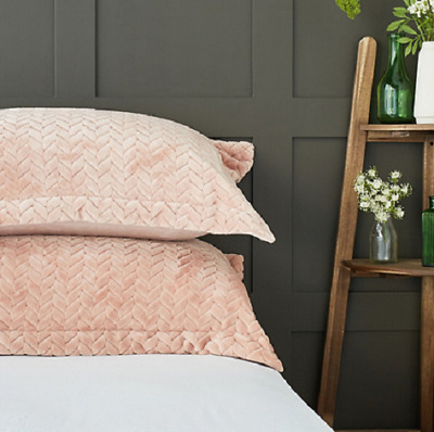 Cozee Home Velvetsoft Braided Texture Filled Set of 2 Shams Rose New