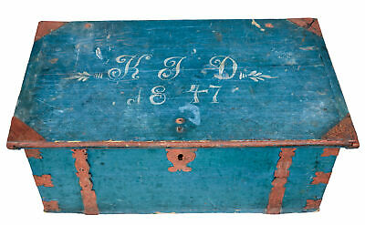 Mid 19Th Century Swedish Painted Pine Strong Box