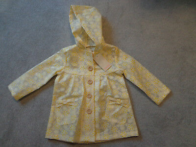 Monsoon Girls Yellow Daisy Floral Rain Coat/Mac Age 2-3 Years - NEW