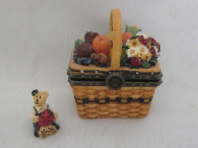 BOYDS BEAR TREASURE BOX FUZZFACE YARN BASKET #392104  RETIRED NWT!!