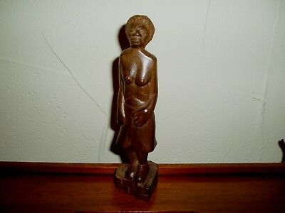 "African Tribal Art Hardwood Carving Of Standing  Female Figure  7 & 1/2"" Tall"