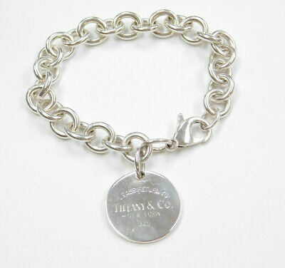"""Please Return To Tiffany & Co. Sterling Silver Round Tag Bracelet 7 3/4"""""""