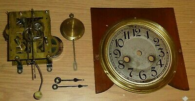 Small striking shelf clock mechanism with dial pendulum & hands - for spares