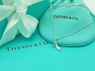 "Tiffany & Co Silver Elsa Peretti Alphabet letter Initial ""I"" Necklace 16"""