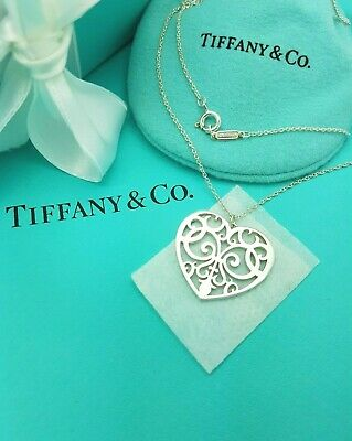 """Tiffany & Co. Sterling Silver LARGE Enchant Heart Tag Pendant 20"""" Necklace"""