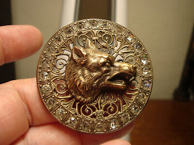Antique brass OPENWORK HIGH relief WOLF/COYOTE glass stone border LARGE button
