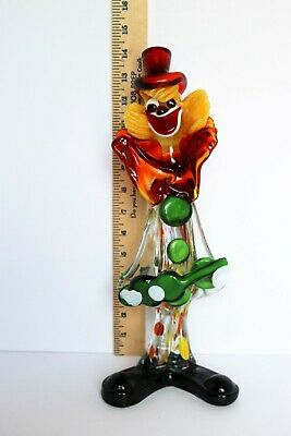 "MURANO Clown TALL 14"" FIGURINE Italian HANDBLOWN Art Glass GUITAR Green RED Hat"
