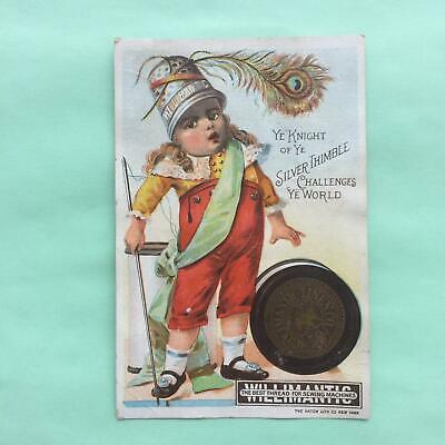 ca1890s CHROMOLITHOGRAPH TRADE CARD  FOR WILLIMANTIC SEWING THREAD