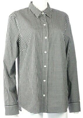 Vineyard Vines Womens Classic with Cashmere Shirt Black White Plaid Size 16