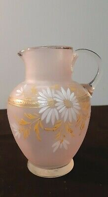 ANTIQUE VICTORIAN ENAMELLED PALE PINK GLASS JUG VASE c1880