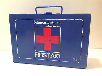 Vintage Johnson & Johnson #8161 First Aid Kit Blue Metal Box w/ Contents