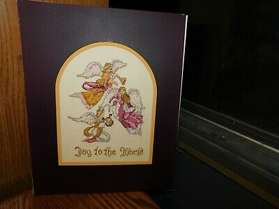 Joy to the World Angels Cross Stitch Panel COMPLETED Handmade