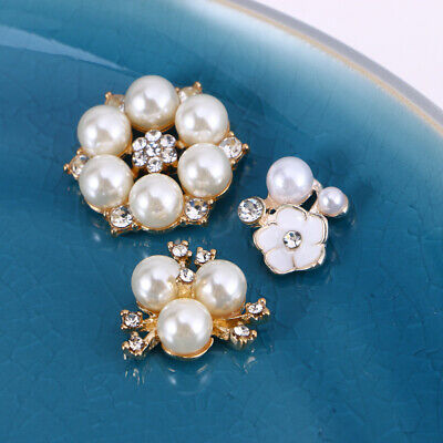 30 Pcs Rhinestone Faux Pearl Buttons Pearl Shining Beautiful Buttons for Decor