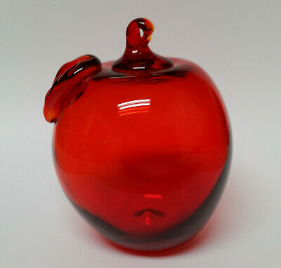 Red Apple Mouth Blown Glass Christmas Ornament 3.33 Inches
