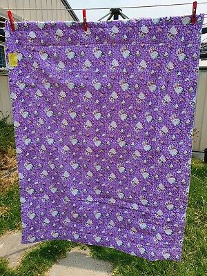 Baby cot quilt or play mat Hello Kitty purple.