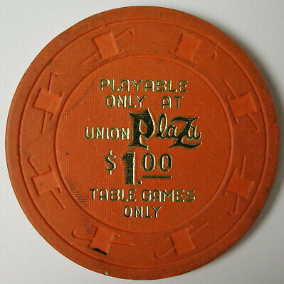 """Vintage 1980's UNION PLAZA Las Vegas Nevada $1.00 Casino Chip """"Table Games Only"""""""