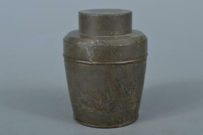 M1087: Japanese XF Old Tin Shikunshi Poetry sculpture TEA CADDY Chaire Container