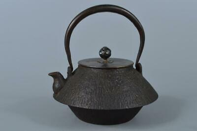 M1598: Japanese XF Old Iron Shapely TEA KETTLE Teapot Tetsubin w/copper lid