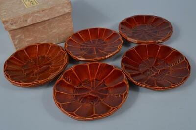 M1672: Japanese Wooden Hida Shunkei Lacquer ware SERVING PLATE/dish 5pcs